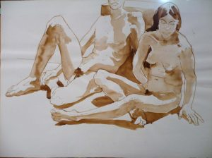 1968 Reclining Male Model and Seated Female Model Sepia 22 x 30