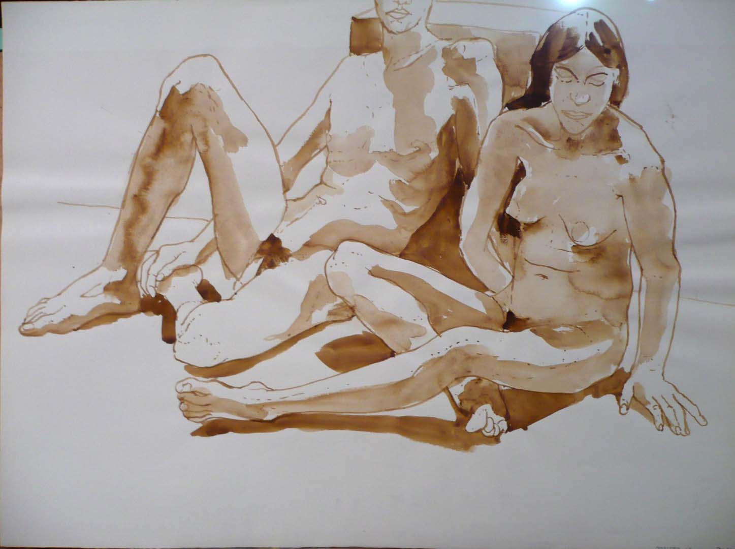 """1968 Reclining Male Model and Seated Female Model Sepia 22"""" x 30"""""""