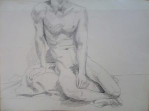 1968 Seated Male Model on Drape Pencil 22 x 29.875