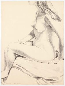 1968 Seated Nude Lithograph on Paper 23.5 x18.125