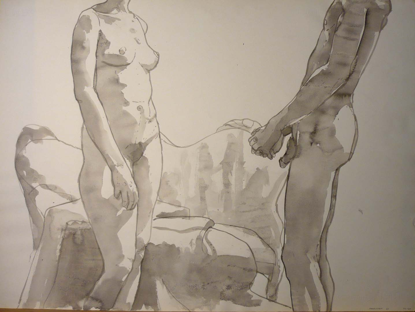 1968 Standing Female and Male Nudes Black Wash Dimensions Unknown