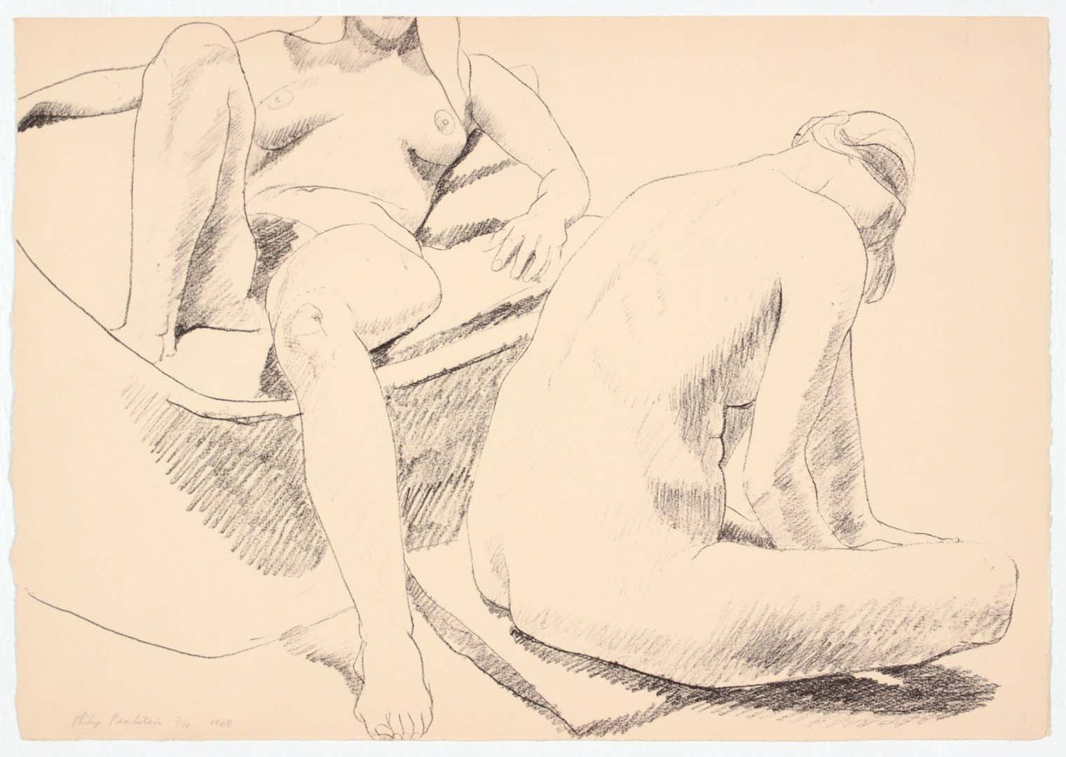 1968 Two Seated Nudes Lithograph on Paper 14 x 20.125