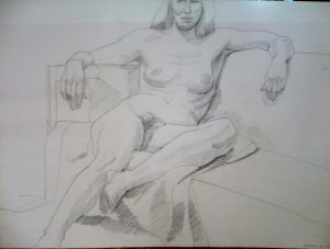 1969 Female Model Leaning Pencil 22.125 x 29.875
