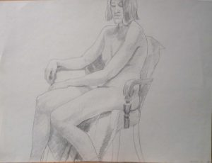 1969 Female Model Seated in Chair Pencil 17.875 x 23.875