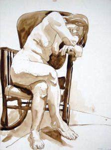 1969 Female Model Seated in Rocking Chair Sepia Wash 39.875 x 22