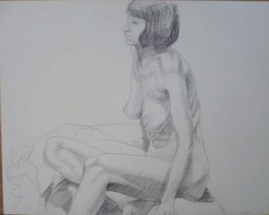 1969 Female Nude Seated Pencil 18.875 x 25.75