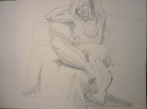 1969 Leaning Female Model with Arms Overhead Pencil 22.125 x 30