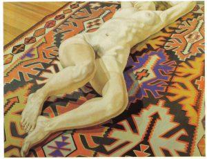 1969 Nude on Kilim Rug Oil on Canvas 47 x 60