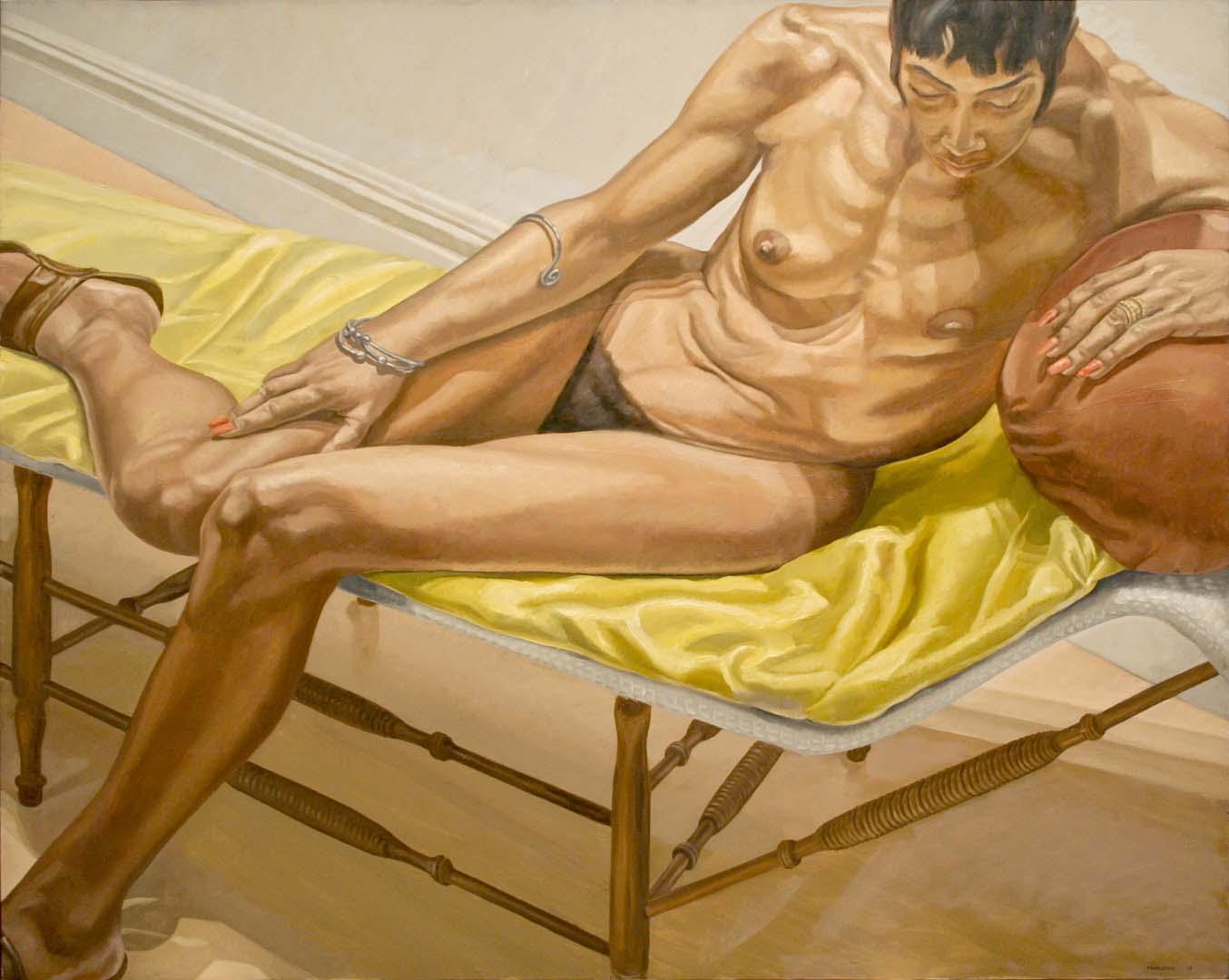 "1969 Reclining Female on Yellow Drape Oil on Canvas 46"" x 60"""