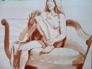 1969 Seated Female with One Leg Raised on Sofa Sepia Wash 22 x 29.875