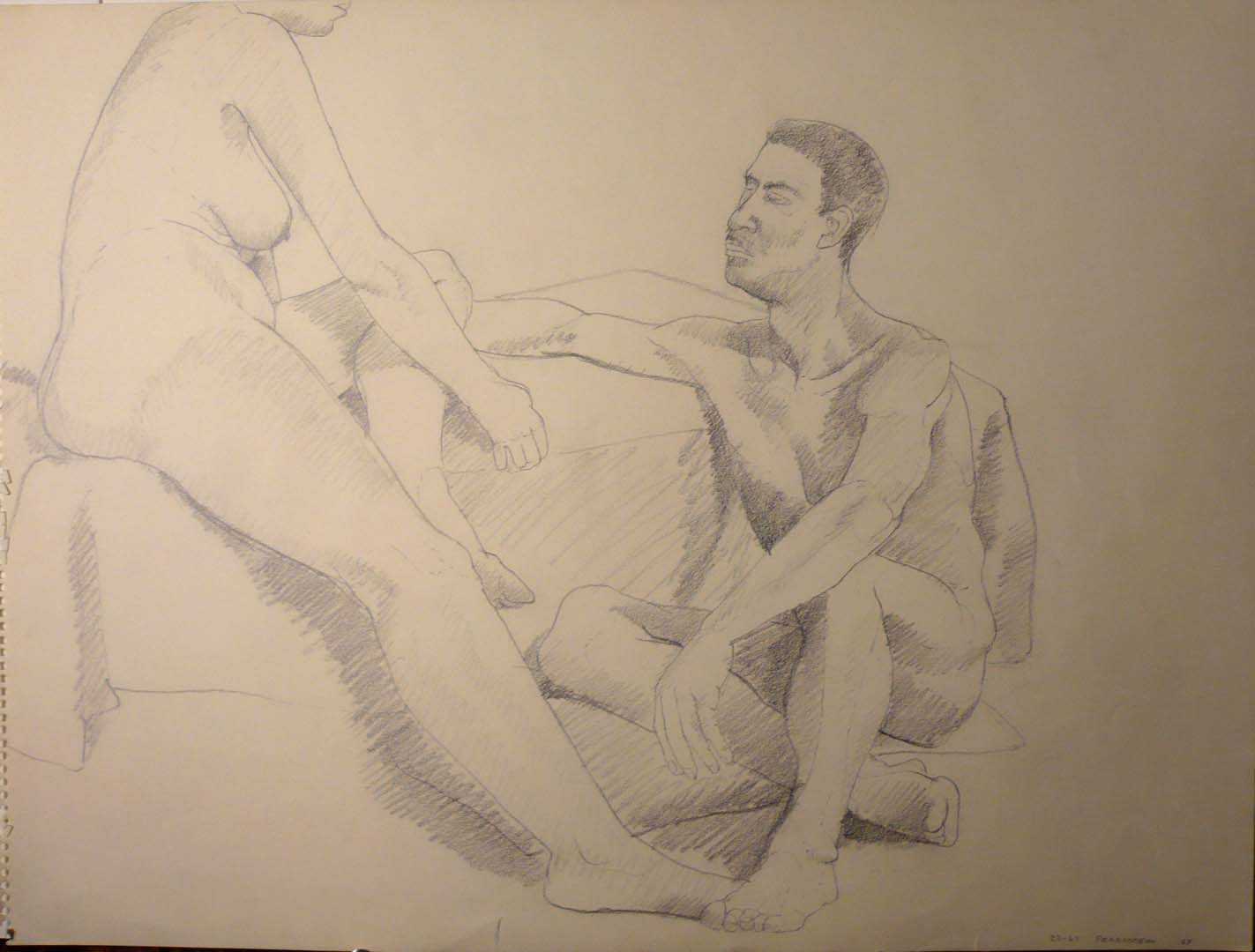 1969 Sitting Female and Male Models Pencil 18 x 24