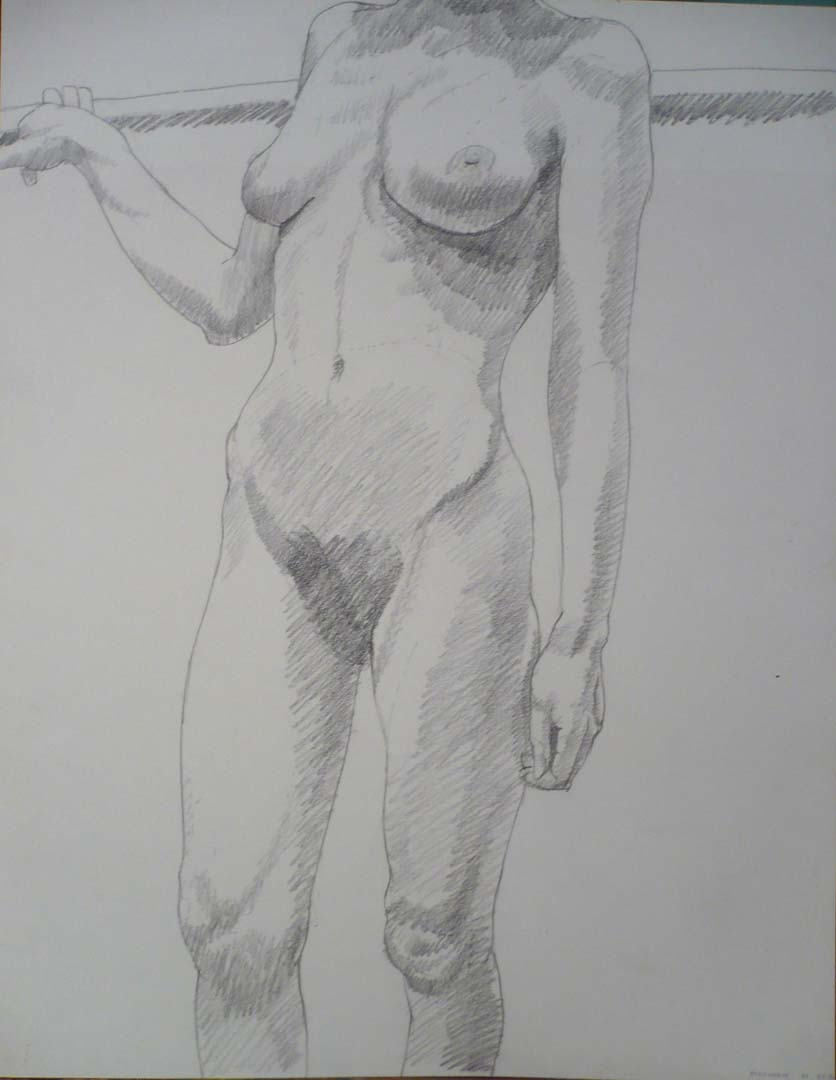 1969 Standing Female Holding Bar Pencil 23.875 x 18.875