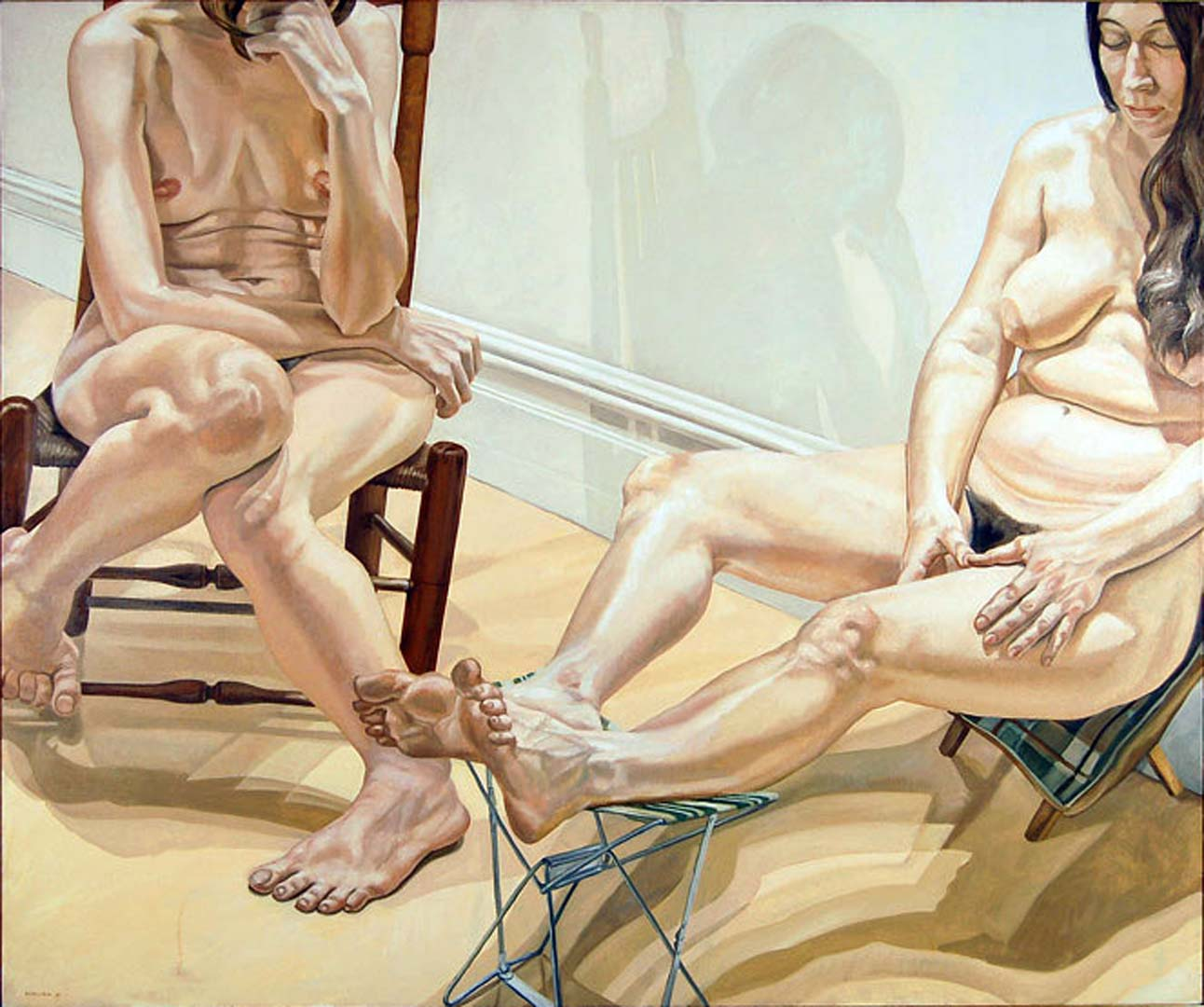 1969 Two Nudes with Camp Chair Oil on Canvas 60 x 72