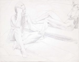 1969 Two Seated Female Nudes Graphite 22.5 x 28.5