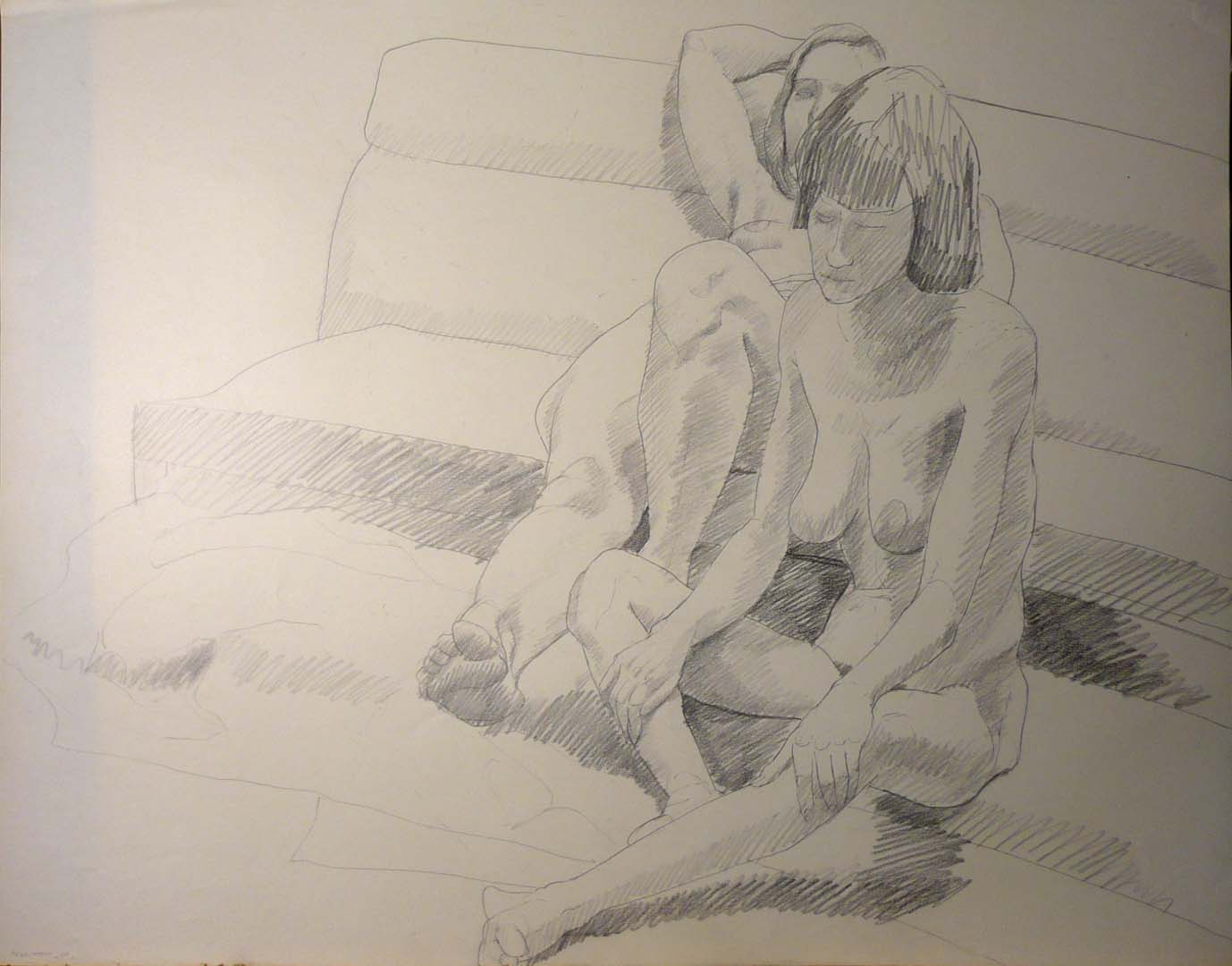 """1969 Two Seated Models Pencil 22.5"""" x 28.5"""""""
