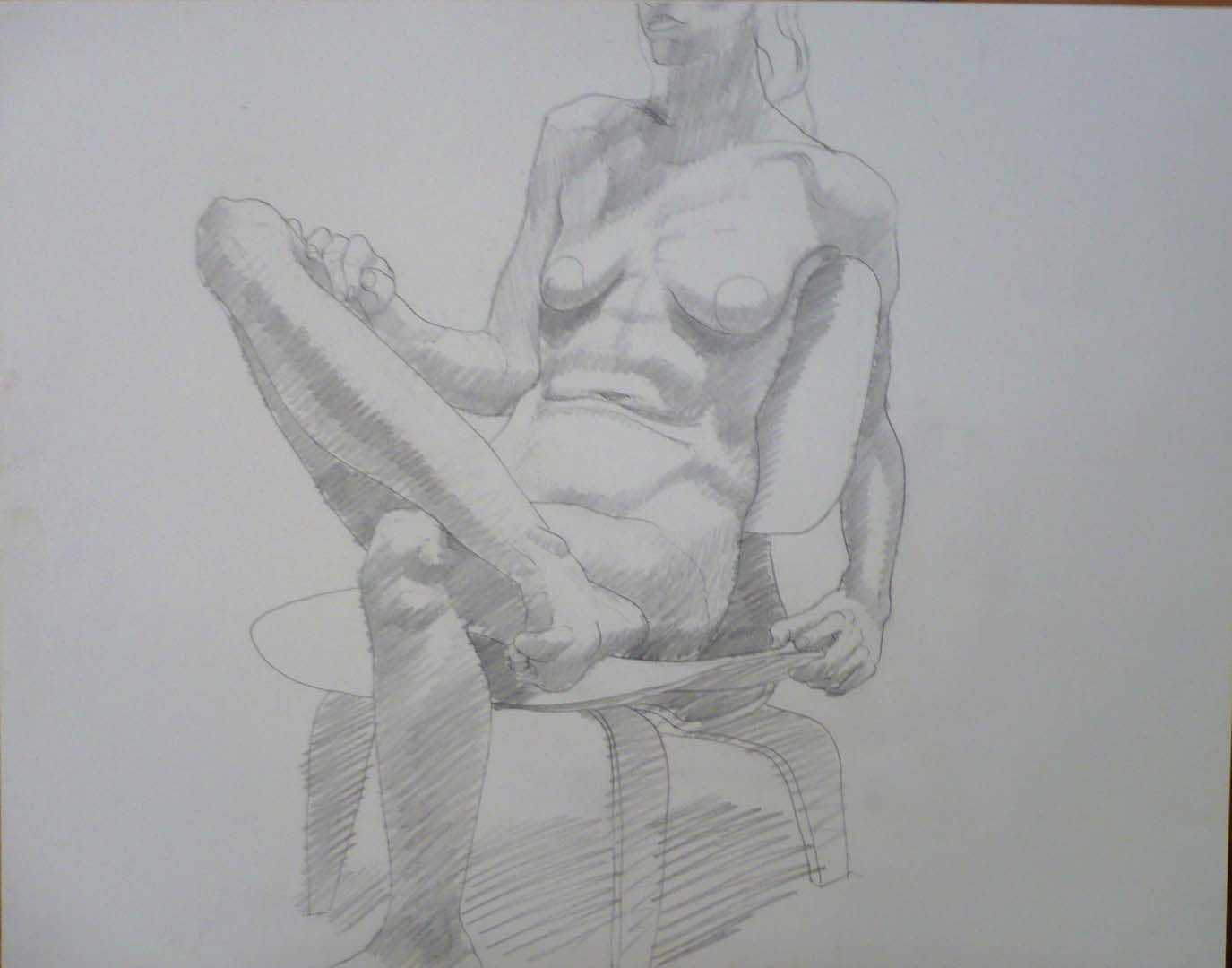 "1970 Female Model Seated on Chair Pencil 18.875"" x 24"""