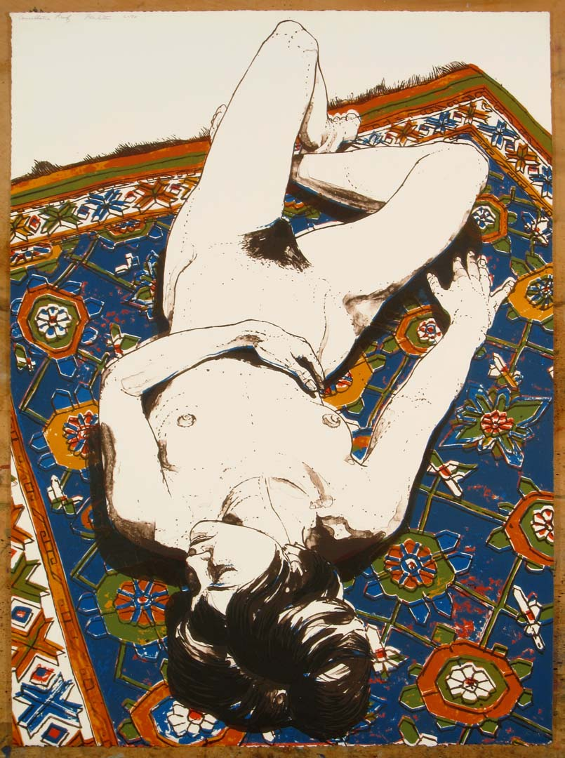 1970 Figure Lying on Rug Lithograph on Paper 30 x 22