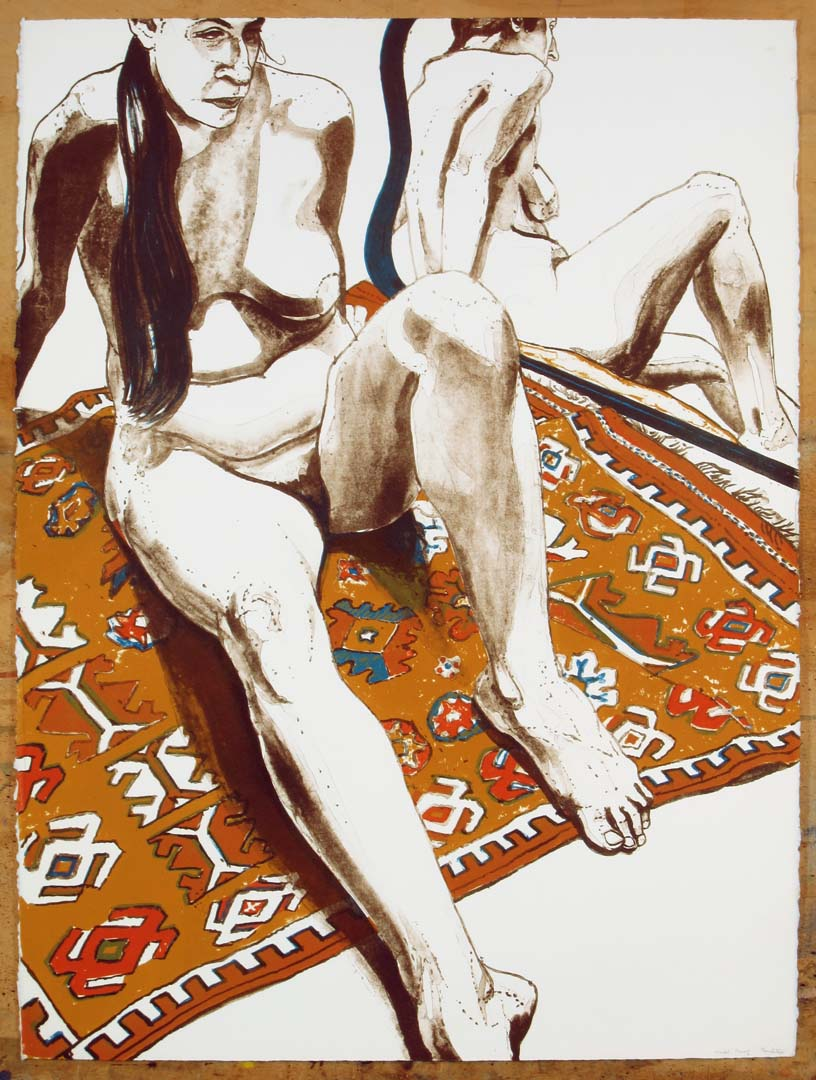 "1970 Figure Seated on Rug with Mirror Lithograph on Paper 30"" x 22"""