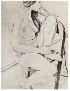 1970 Figure on Folding Chair Lithograph on Paper 30 x 22
