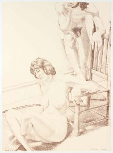 1970 Male and Female Figure Lithograph on Paper 30 x 22