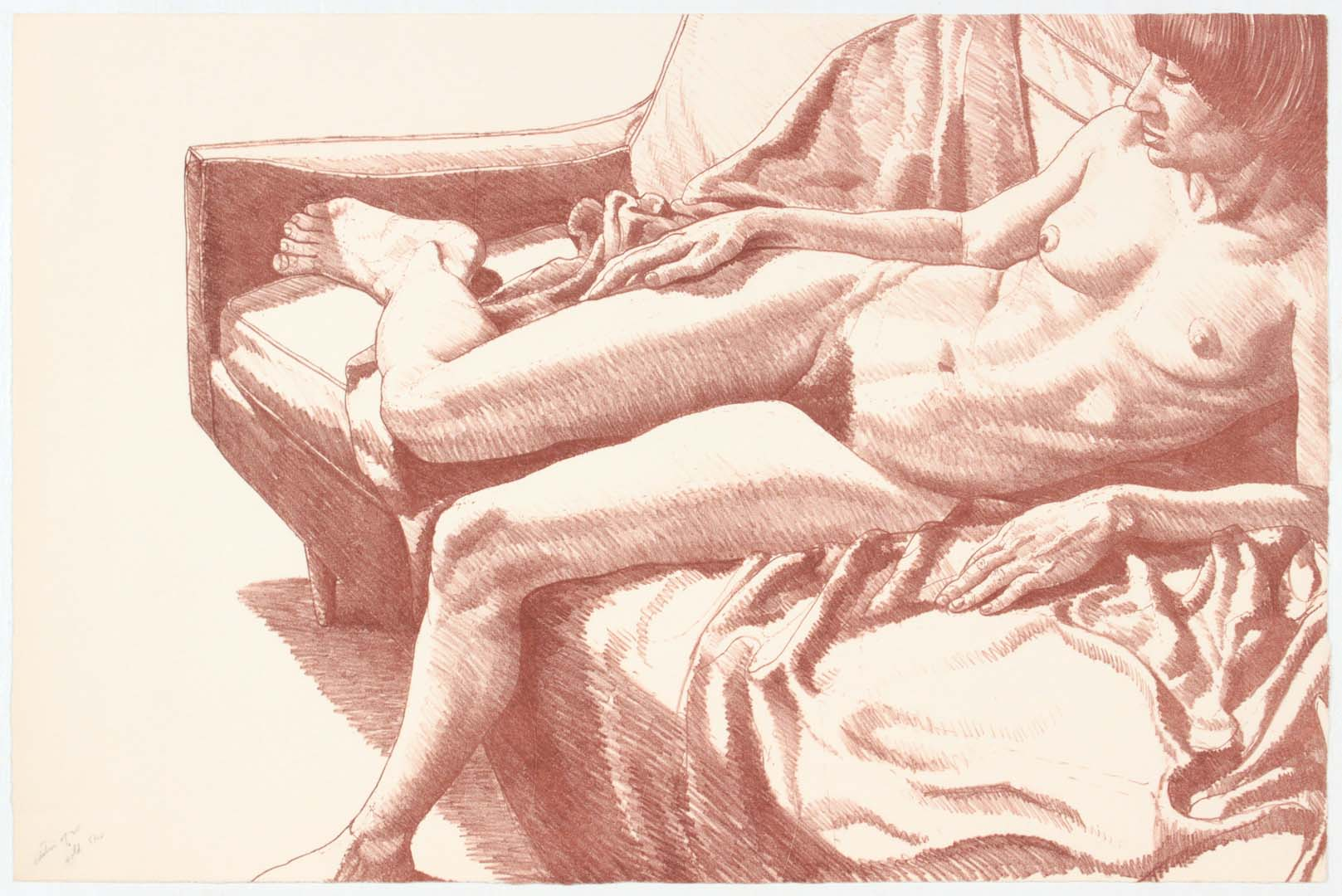 "1970 Nude on Sofa with Drape Lithograph on Paper 17"" x 26"""