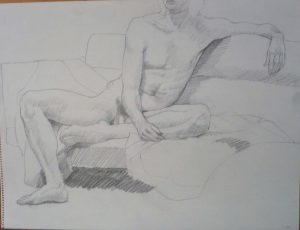 1970 Seated Male Model on Sofa Pencil 18 x 24