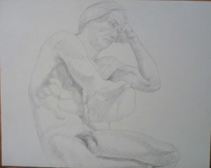 1979 Male Model Seated on Swivel Chair Pencil 19 x 24