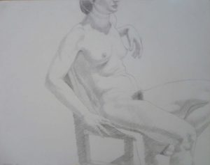 1971 Female Model Seated in Chair Pencil 18.875 x 24
