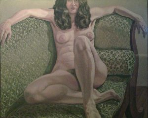 1971 Female Model on Green Sofa Oil on Canvas 48 x 60