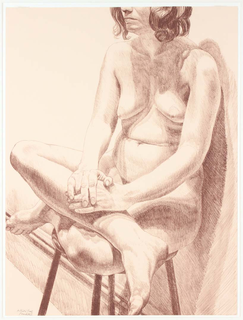 """1971 Girl on Stool Lithograph on Paper 24"""" x 18"""""""