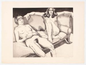 1971 Two Models on Couch Aquatint Etching on Paper 22.25 x 30