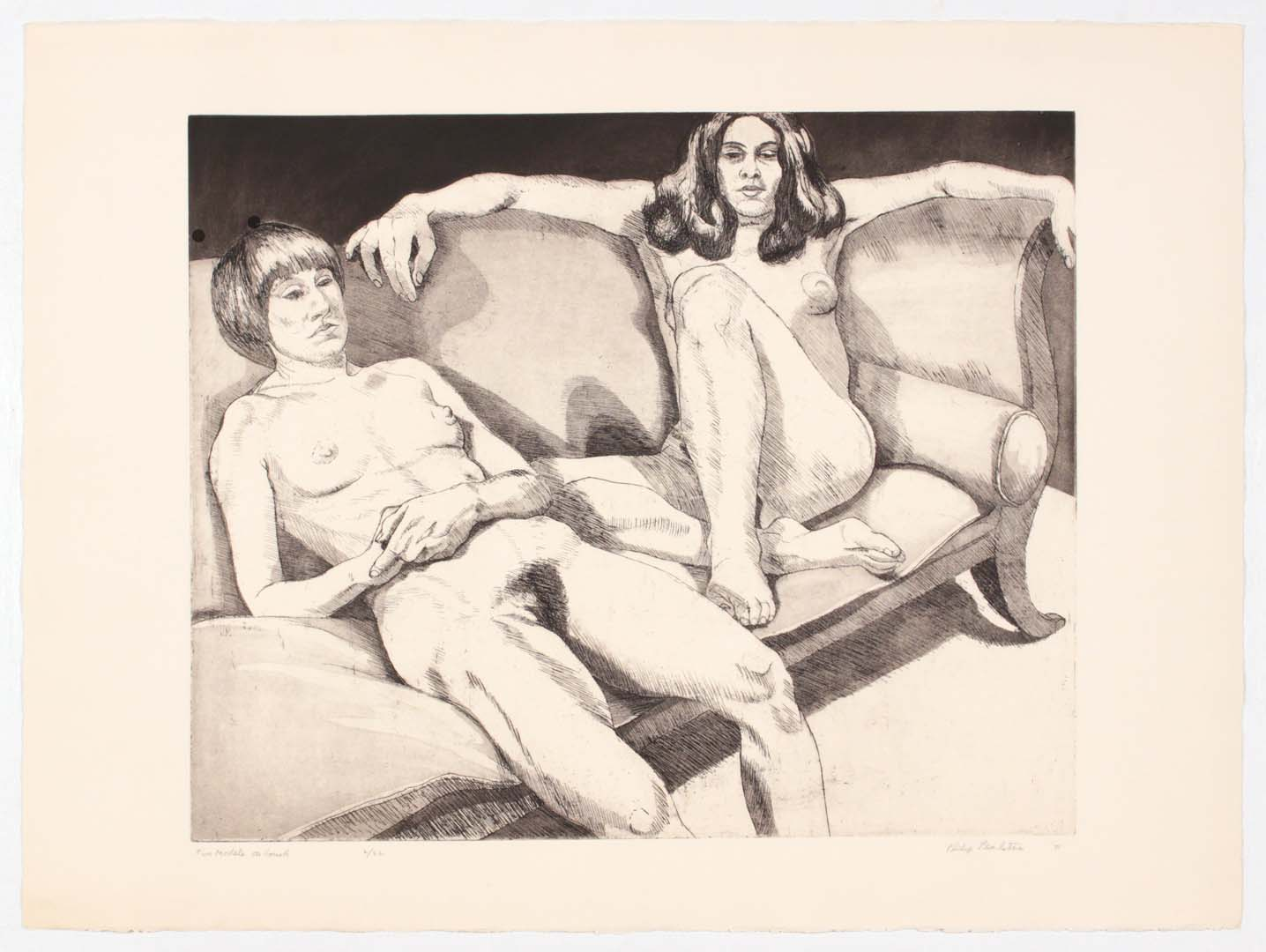 "1971 Two Models on Couch Aquatint Etching on Paper 22.25"" x 30"""