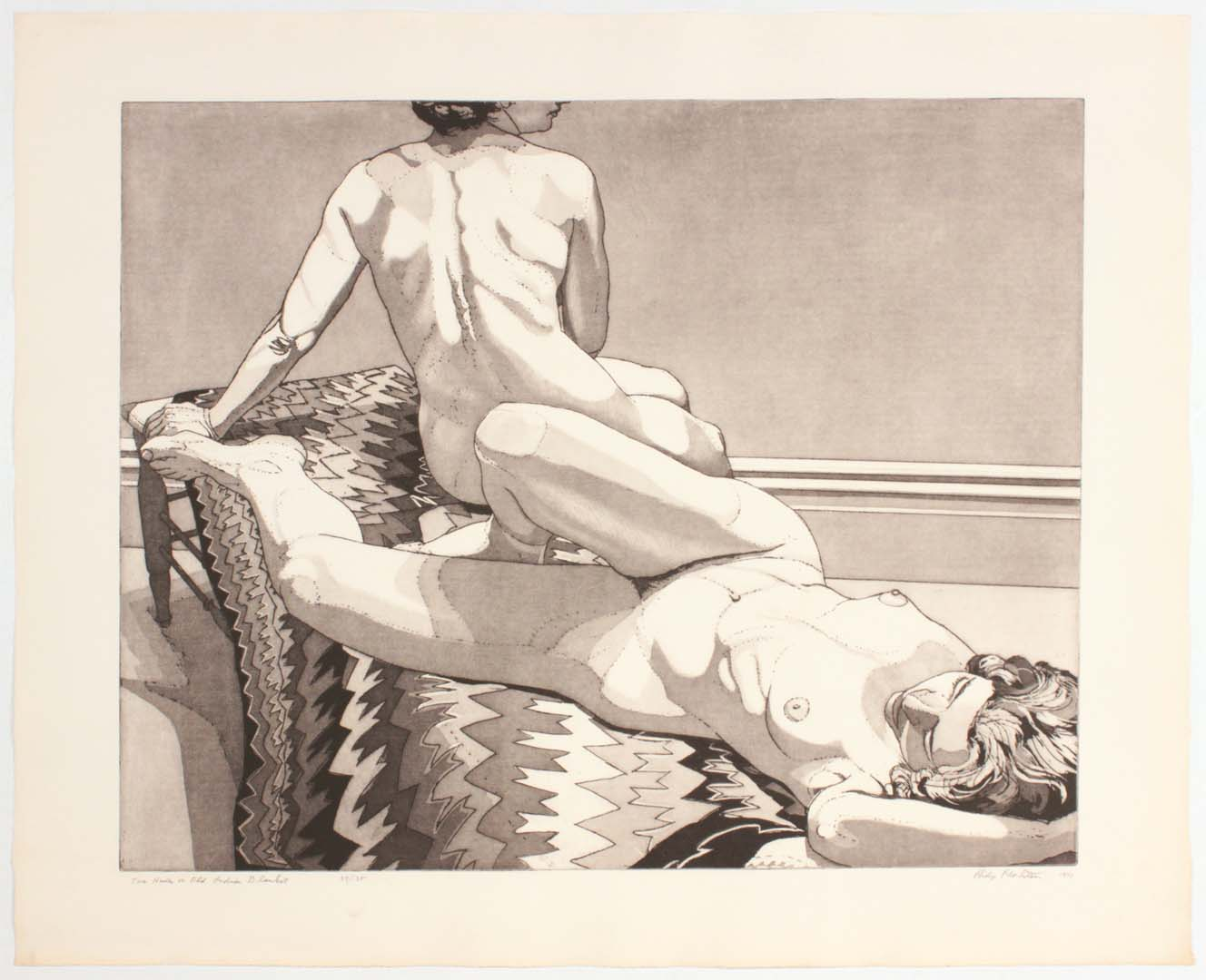 1971 Two Nudes on Old Indian Rug Aquatint Etching on Paper 29.5 x 26.25