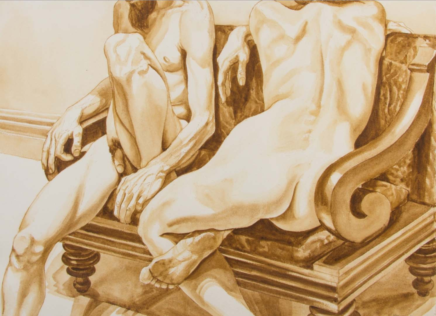 "1971 Untitled (Reclining Nudes) watercolor on Paper 31.5"" x 43"""