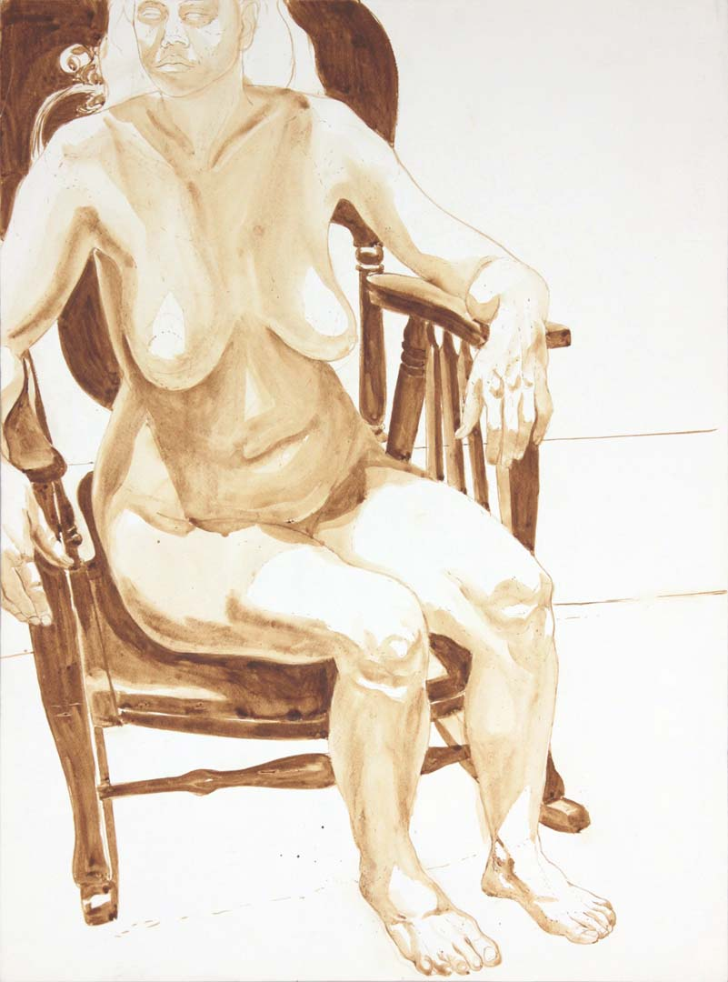 "1974 Female Nude Seated in Chair Wash 29.875"" x 22"""