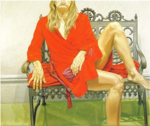 1972 Female Model in Red Bath Robe on Wrought Iron Bench Oil on Canvas 60 x 72