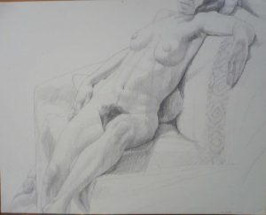 1972 Female Nude Seated Against Pillow Pencil 18.875 x 24