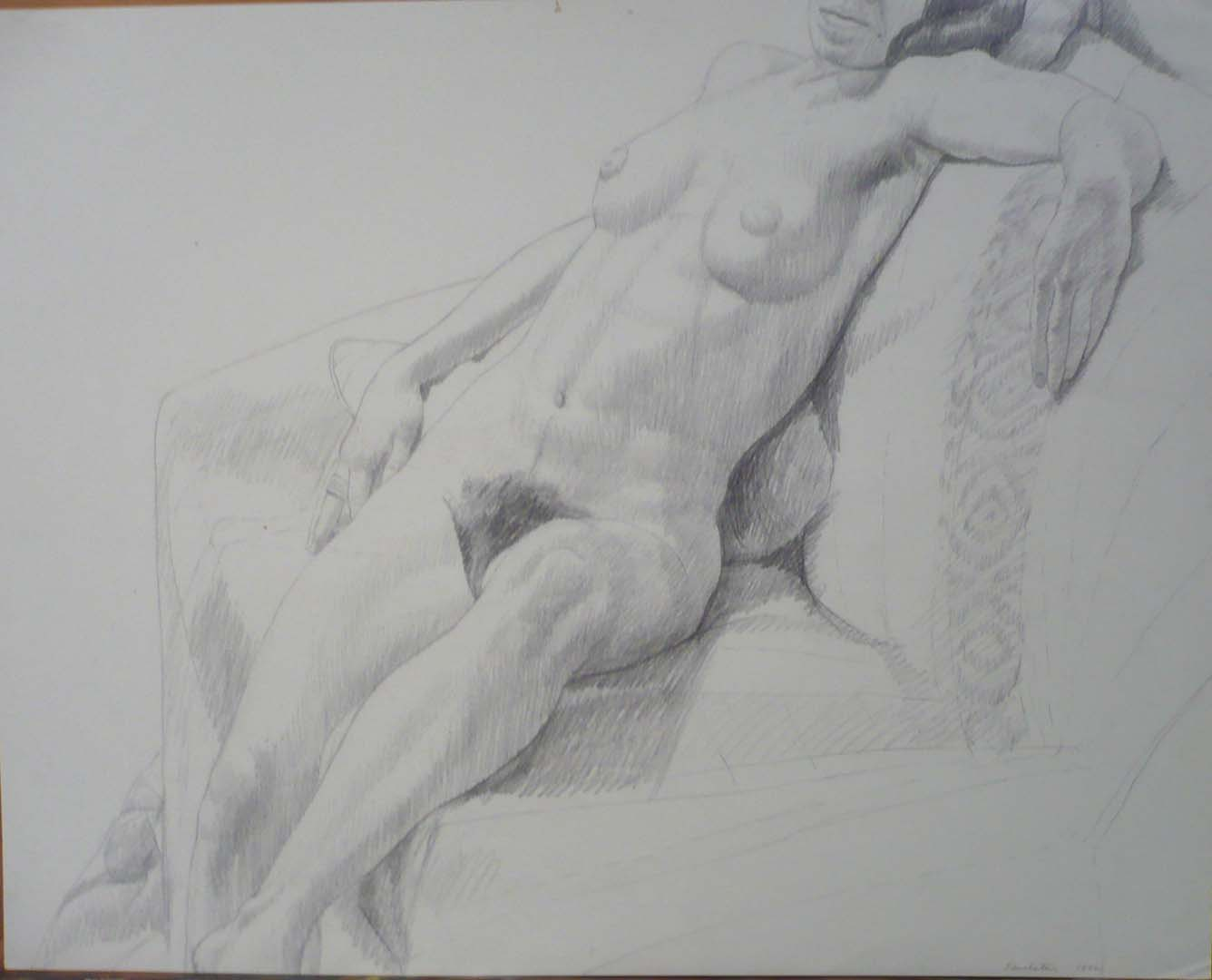 "1972 Female Nude Seated Against Pillow Pencil 18.875"" x 24"""