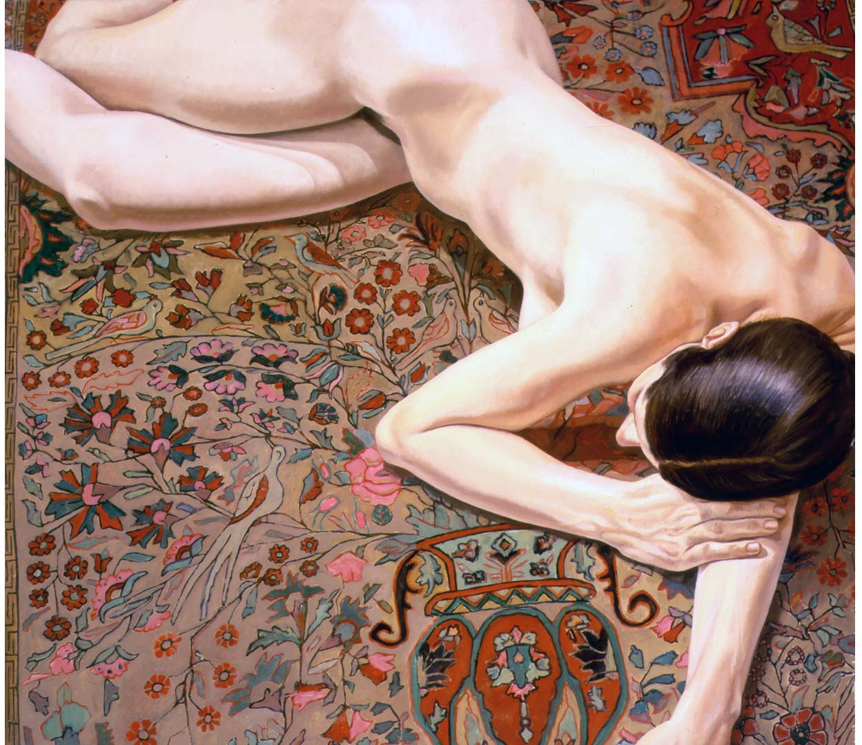 "1972 Female Nude on Persian Rug Oil on Canvas 42"" x 48"""