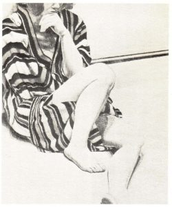 1972 Girl in Striped Robe Lithograph on Paper 27 x 22