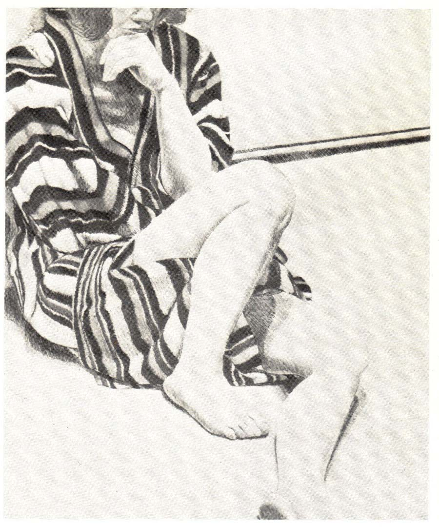 "1972 Girl in Striped Robe Lithograph on Paper 27"" x 22"""