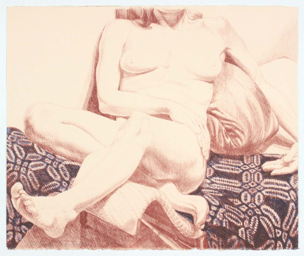 "1972 Girl on Blue Coverlet Lithograph on Paper 22.5"" x 27"""