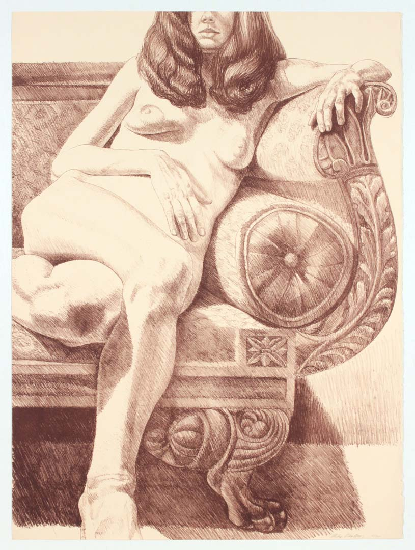 "1972 Girl on Empire Sofa Lithograph on Paper 32.25"" x 24"""