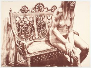 1972 Girl on Iron Bench Lithograph on Paper 24 x 32.25