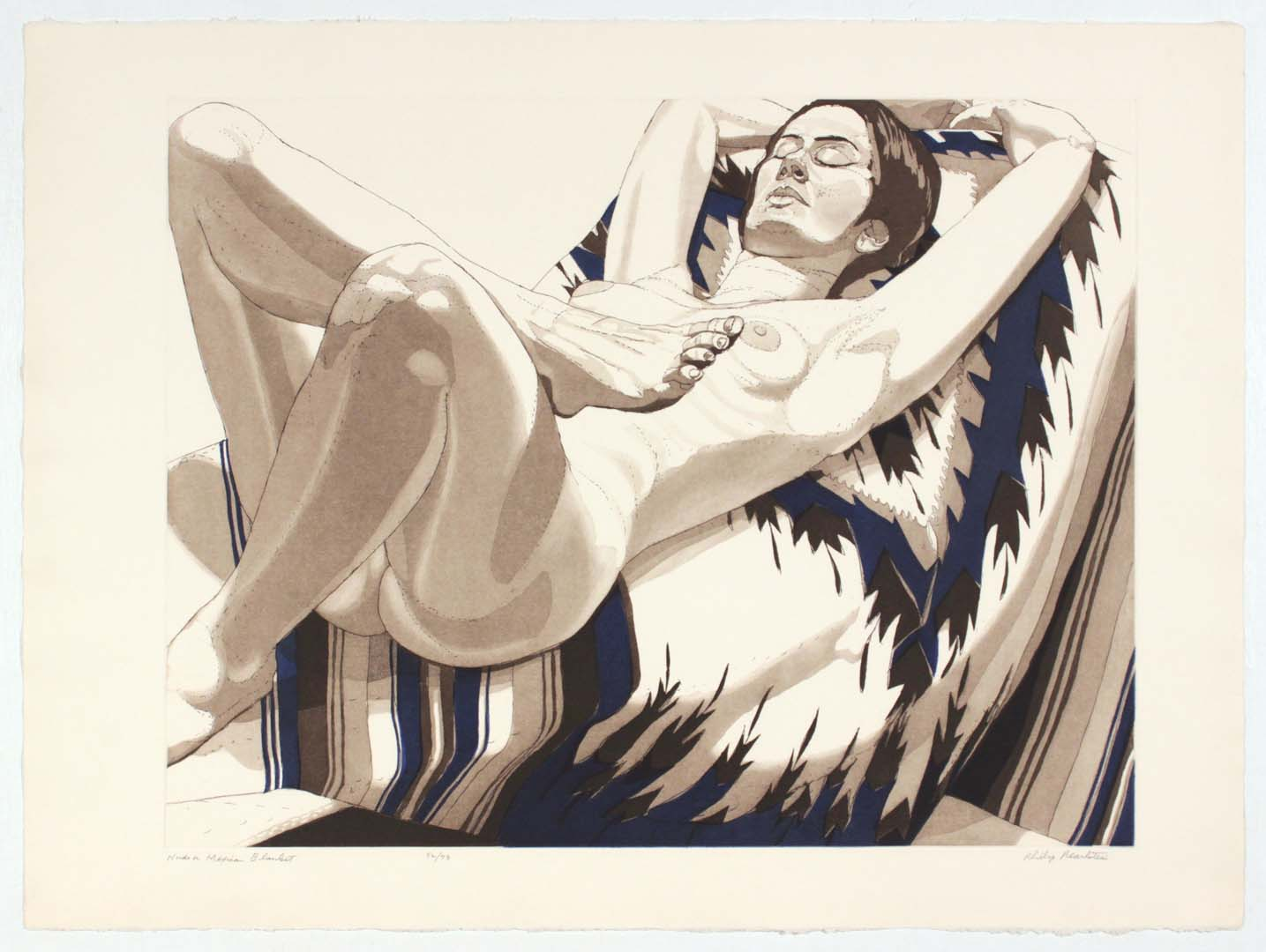 """1972 Nude on Mexican Blanket Aquatint Etching on Paper 22.25"""" x 30"""""""