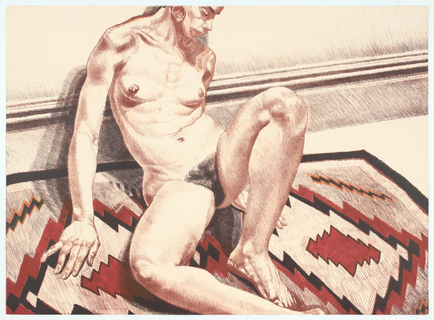 """1972 Nude on Navajo Rug Lithograph on Paper 24.5"""" x 34"""""""