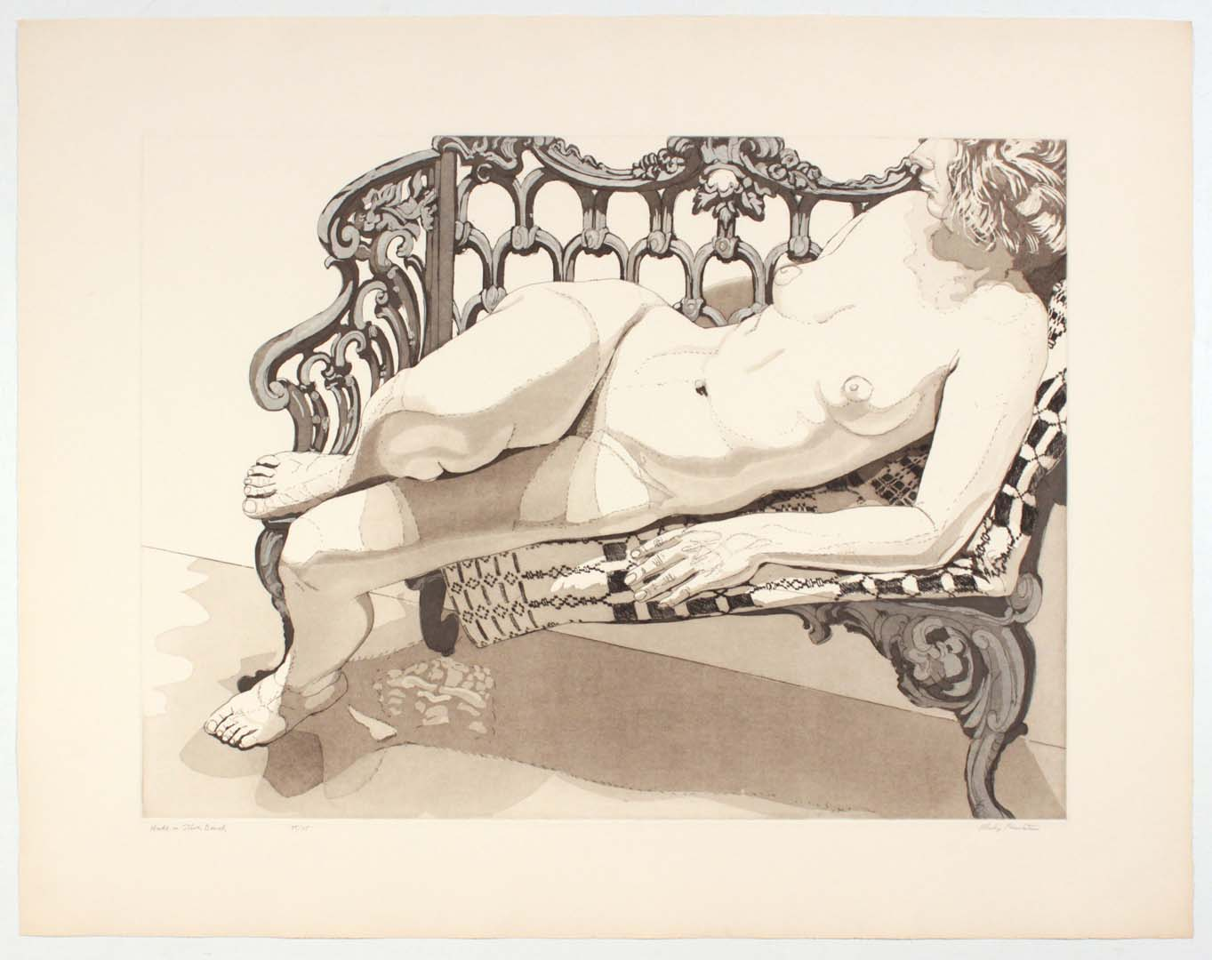 1972 Nude on Silver Bench Aquatint Etching on Paper 29.5 x 37.5