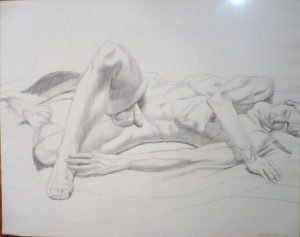 1972 Reclining Male Model Pencil 22.5 x 28.5