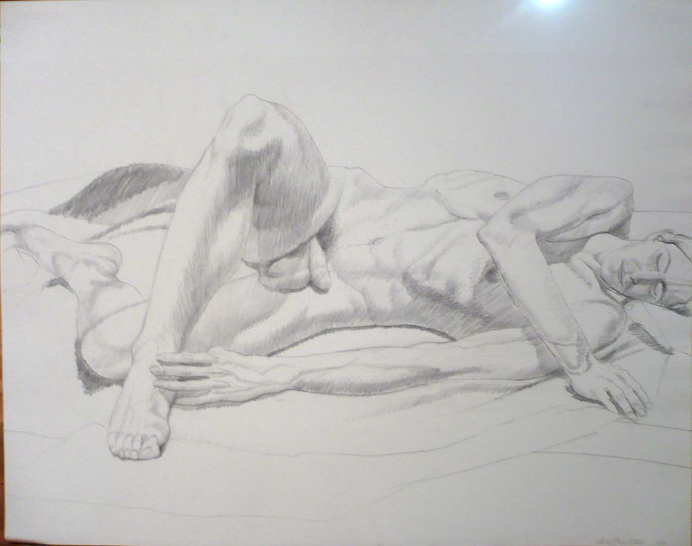 "1972 Reclining Male Model Pencil 22.5"" x 28.5"""