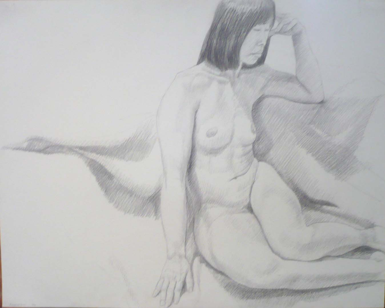 1972 Seated Model with Legs Bent Pencil 19 x 24